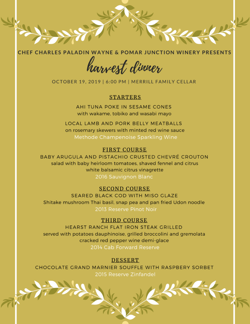 Harvest Festival Winemaker Dinner @ Merrill Family Wine Cellar | Paso Robles | California | United States