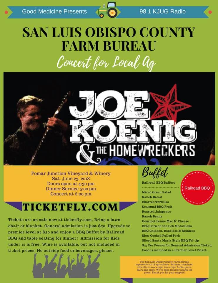 Concert Benefitting Local Ag: Joe Koenig & The Homewreckers @ Pomar Junction Vineyard & Winery